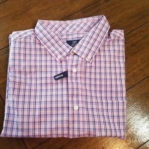 Men's XL George Lavender Plaid Button Down NWT!!
